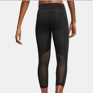 NWT Black Nike Mesh Logo Running Capri Leggings